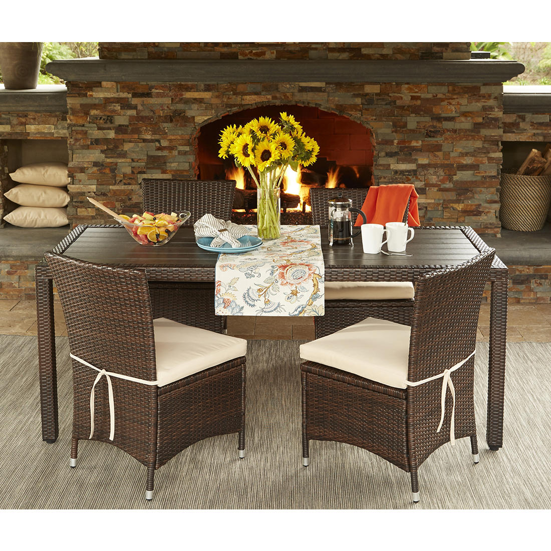 Magnificent Handy Living Azura 5 Pc Outdoor Dining Set Beige Brown Pabps2019 Chair Design Images Pabps2019Com