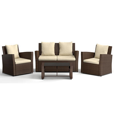 Handy Living Azura 4-Pc. Wicker Outdoor Set - Beige/Brown