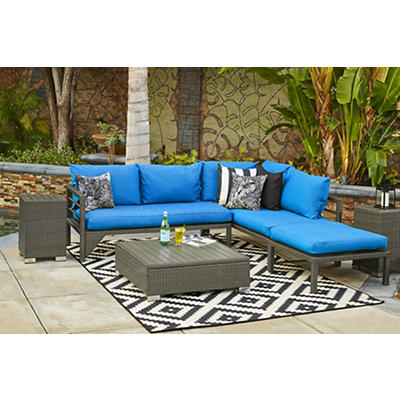 Handy Living Outdoor Sectional - Azura Gray/Pacific Blue