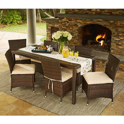 Handy Living Azura 7-Pc. Outdoor Dining Set - Beige/Brown