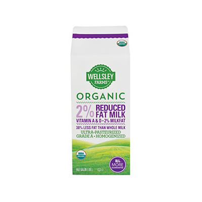 Wellsley Farms Organic 2% Milk, 2 pk./64 fl. oz.