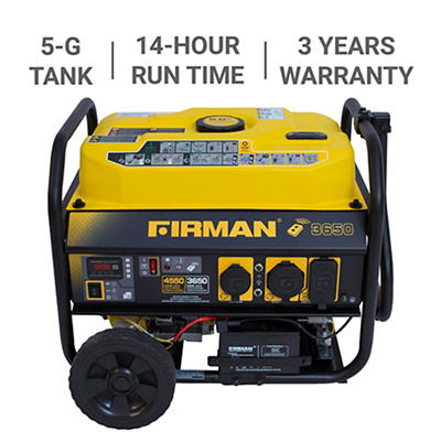 Firman 4,550W Peak/3,650W Rated Gas-Powered Portable Generator with Re