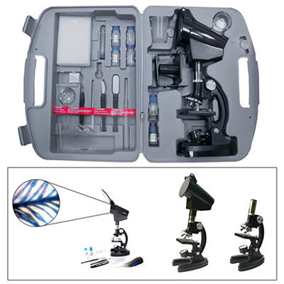 Cassini 300x-1200x 98-Pc. Zoom Microscope Set with Projection Hood