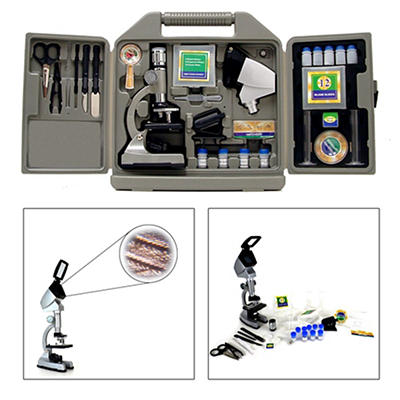Cassini 50x-1200x 67-Pc. Zoom Microscope Set with Projection Hood