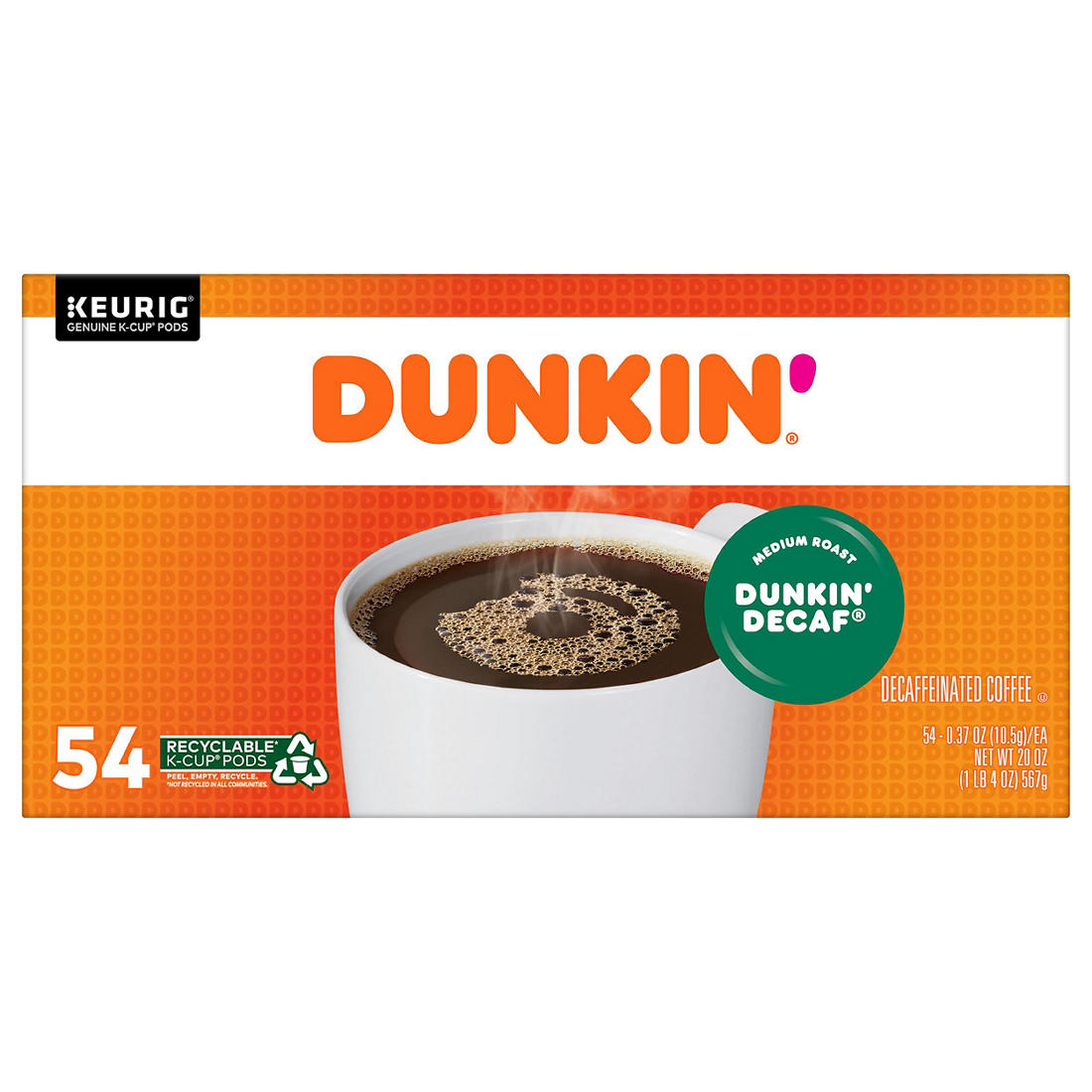 image about Dunkin Donuts Coffee Printable Coupons named Dunkin Donuts Authentic Combination Decaf K-Cup Pods, 54 ct.
