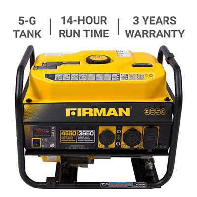 Firman 4,550W Peak/3,650W Rated Gas-Powered Portable Generator