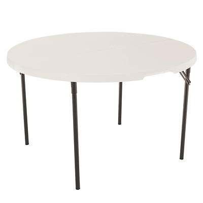 "Lifetime 48"" Round Light Commercial Fold-in-Half Table - Almond"