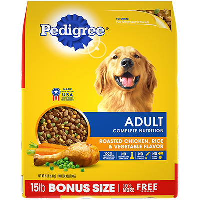 Pedigree Adult Complete Nutrition Roasted Chicken, Rice & Vegetable Fl