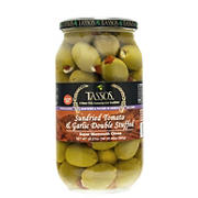 Tassos Sundried Tomato and Garlic Double Stuffed Super Mammoth Olives, 35.27 oz.