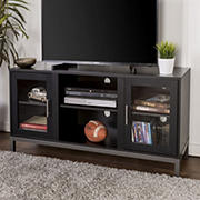 "W. Trends Avenue 52"" Wood and Metal TV Console for TVs Up to 55"" - Smooth Black"