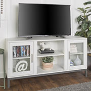 "W. Trends 52"" Modern Glass Door TV Stand for Most TV's up to 58"" - White"