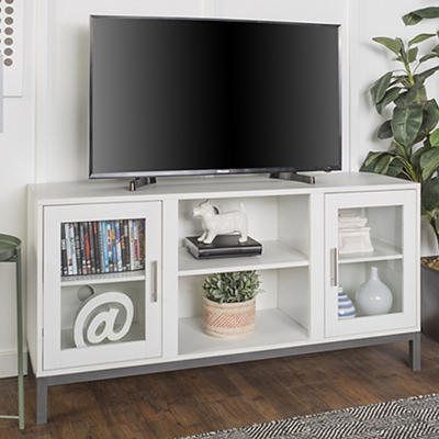 "W. Trends Avenue 52"" Wood and Metal TV Console - White"