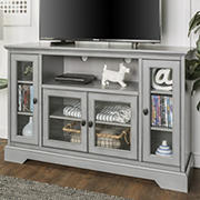 "W. Trends 52"" Traditional Glass Door TV Stand for Most TV's up to 58"" - Aged Grey"
