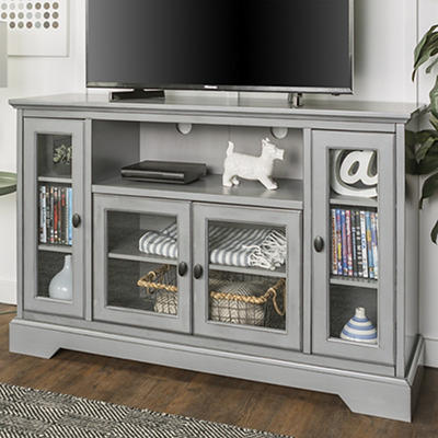 "W. Trends Highboy 52"" Wood TV Media Stand with Storage - Aged Gray"