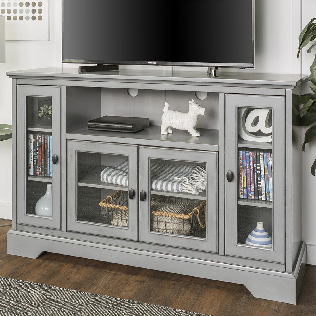 W Trends Highboy 52 Wood Tv Media Stand With Storage For Tvs Up To 55 Aged Gray