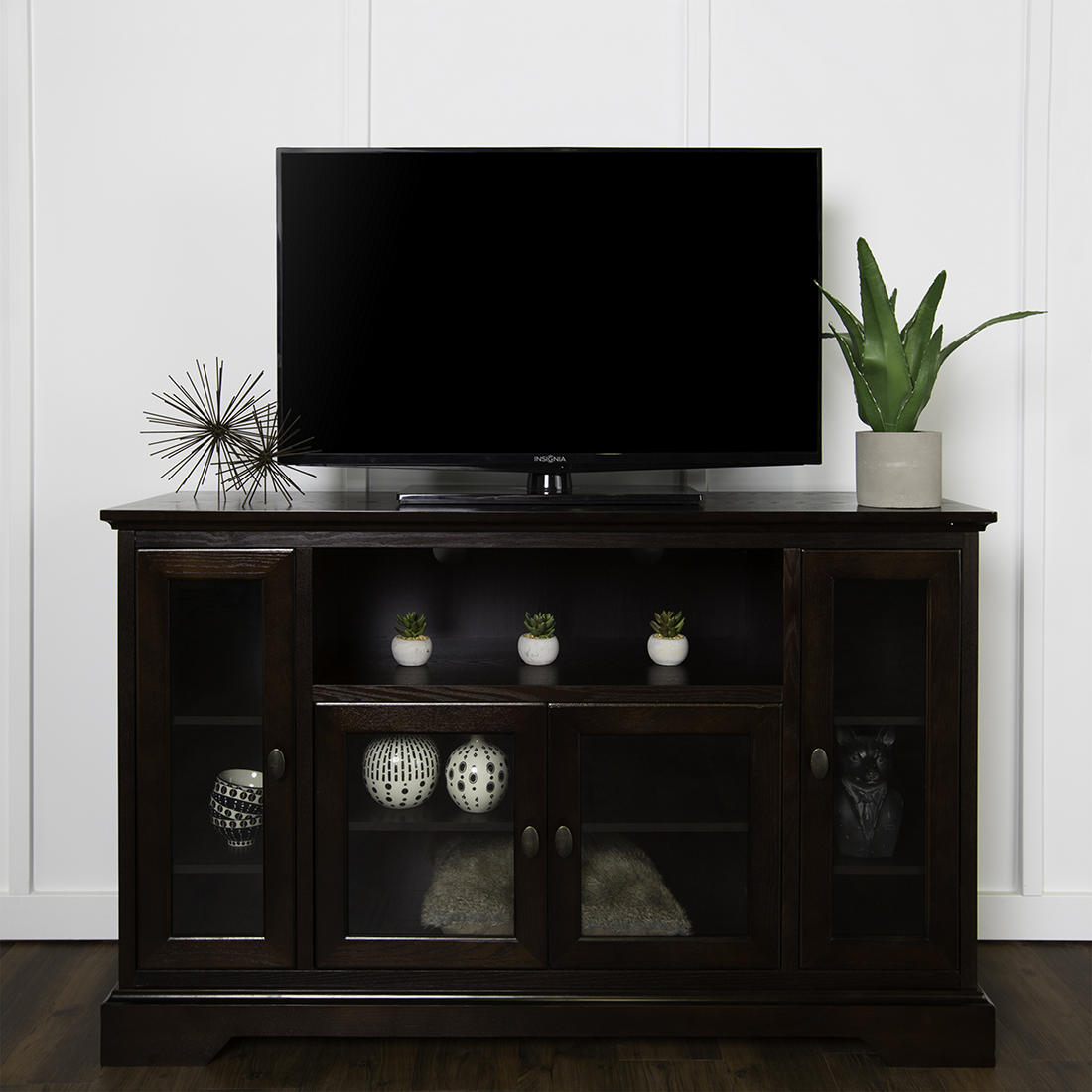 W Trends Highboy 52 Wood Tv Media Stand With Storage For Tvs Up To 55 Espresso