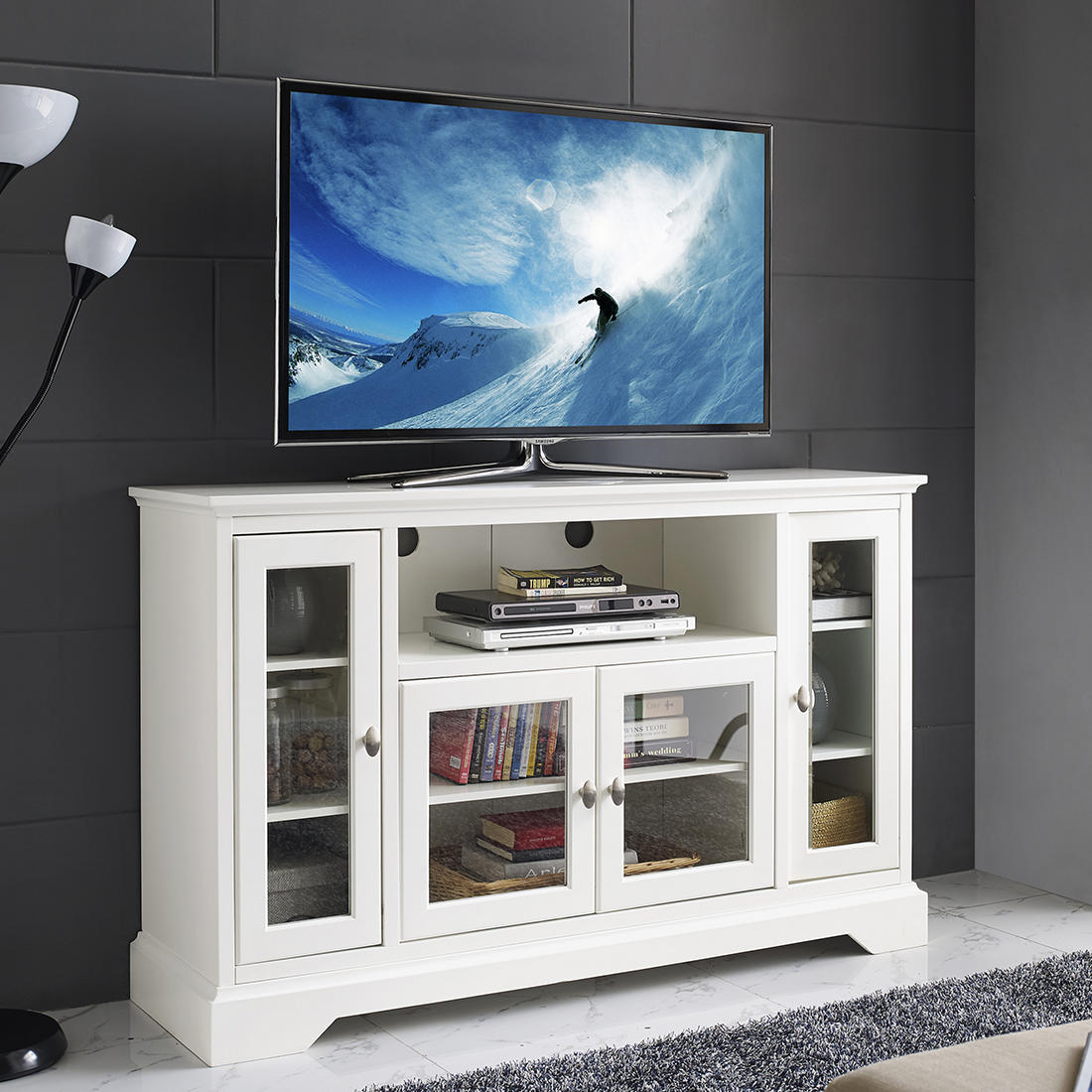 W Trends Highboy 52 Wood Tv Media Stand With Storage For Tvs Up To 55 White