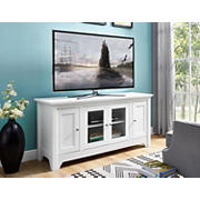 "W. Trends 52"" Traditional Storage TV Stand for Most TV's up to 58"" - White"