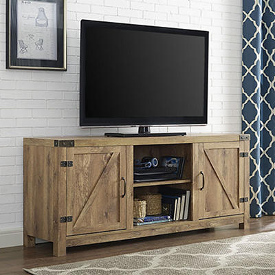"W. Trends 58"" Barn Door TV Stand with Side Doors - Barnwood"