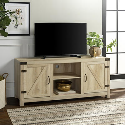 "W. Trends 58"" Barn Door TV Stand with Side Doors - White Oak"