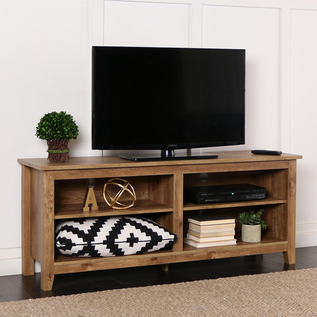 W Trends 58 Wood Tv Media Stand And Storage Console For Tvs Up To 60 Barnwood