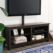 "W. Trends 58"" Rustic Open TV Stand with Mount or TVs up to 65"" - Espresso"