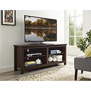 "W. Trends 58"" Wood TV Media Stand for TVs Up to 60"" - Traditional Brown"
