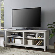 "W. Trends 58"" Rustic Open TV Stand or TVs up to 65"" - White Wash"