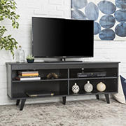 "W. Trends 58"" Simple Contemporary Wood TV Console for TVs Up to 60"" - Black"
