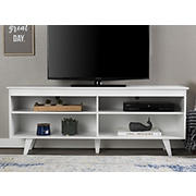 "W. Trends 58"" Modern Open Storage TV Stand for Most TV's up to 65"" - White"