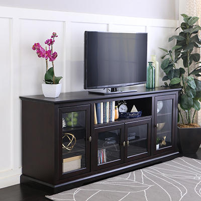 "W. Trends 70"" Wood Highboy TV Media Stand for TVs Up to 70"" - Espresso"