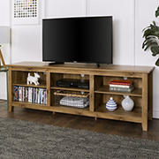 "W. Trends 70"" Rustic Open Storage TV Stand or TVs up to 80"" - Barnwood"