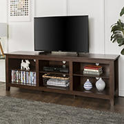 "W. Trends 70"" Rustic Open Storage TV Stand or TVs up to 80"" - Brown"