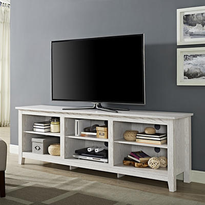 "W. Trends 70"" Wood Media TV Stand Storage Console - White Wash"