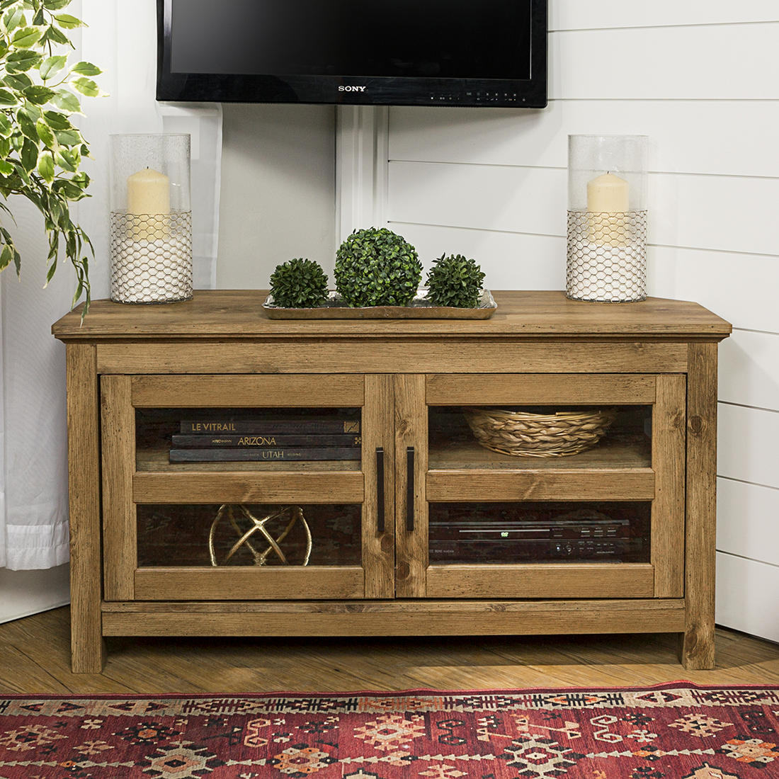 W Trends 44 Wood Corner Tv Media Stand With Storage Barnwood
