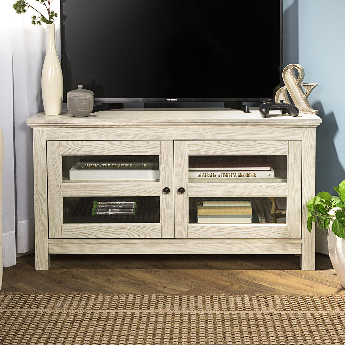 W Trends 44 Wood Corner Tv Media Stand With Storage For Tvs Up To 48 White Wash