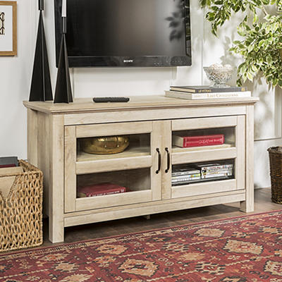"W. Trends 44"" Wood TV Media Stand - White Oak"