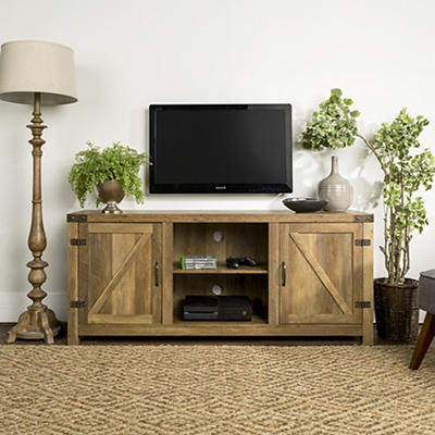 "W. Trends 58"" Barn Door TV Stand with Side Doors - Rustic Oak"