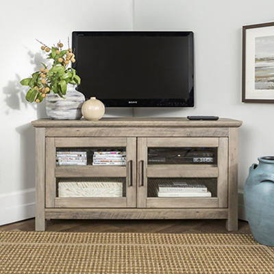 "W. Trends 44"" Corner Wood TV Console for TVs Up to 48"" - Gray Wash"