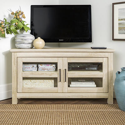 "W. Trends 44"" Wood Corner TV Console for TVs Up to 48"" - White Oak"