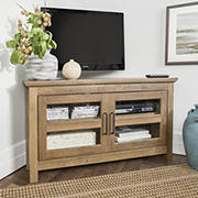 "W. Trends 55"" Rustic 2 Door Corner TV Stand for Most TV's up to 50"" - Rustic Oak"