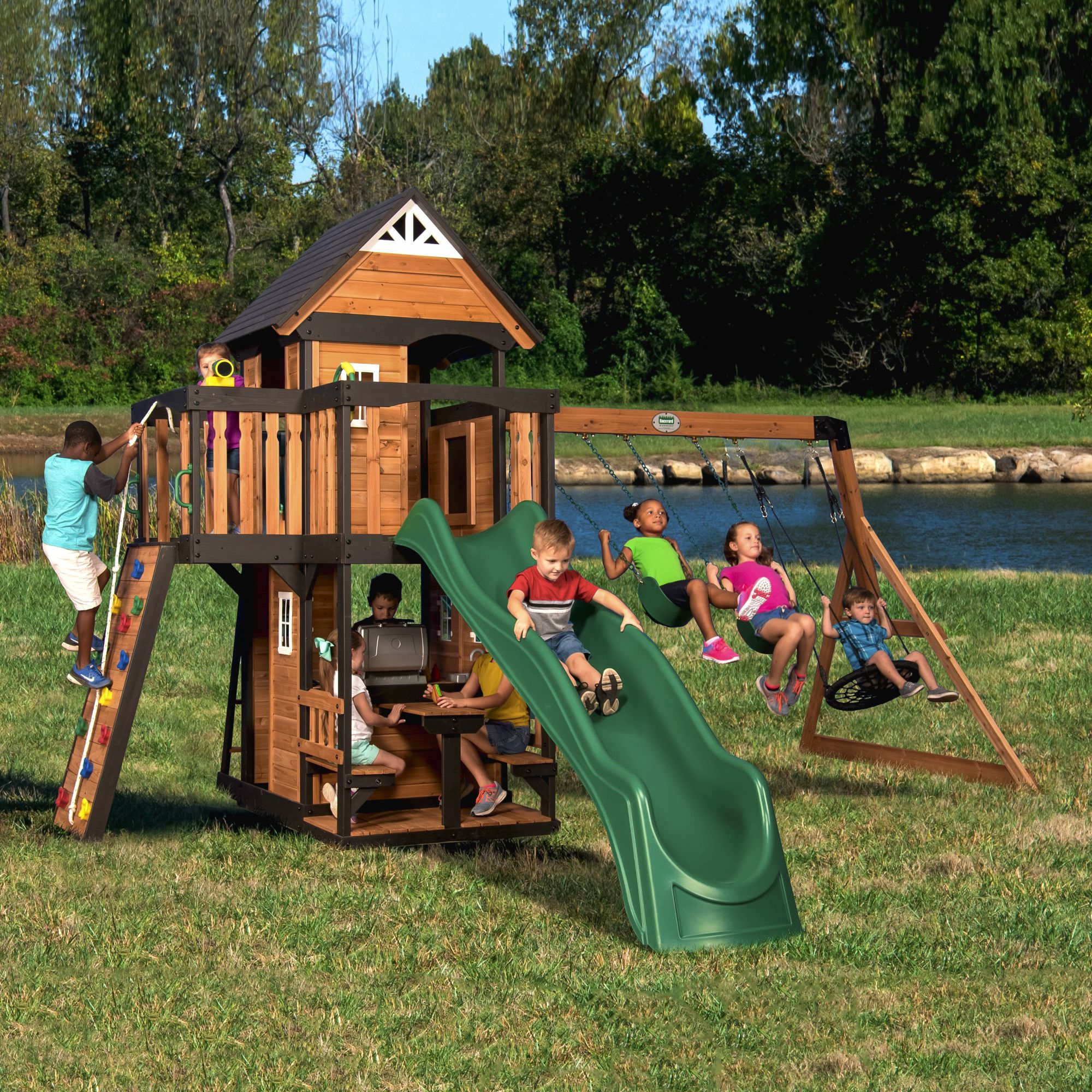 Backyard Discovery Canyon Creek Swing Set Bjs Wholesale Club