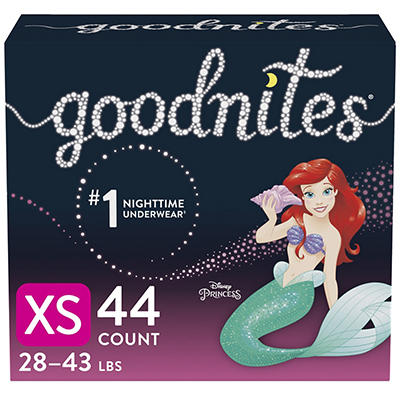 GoodNites Bedtime Bedwetting Underwear for Girls, Size XS, 44 ct.