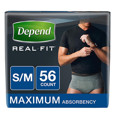 Depend Real Fit Incontinence Briefs for Men with Maximum Absorbency, S