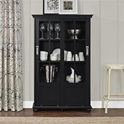 Ameriwood Home Aaron Lane Bookcase with Sliding Glass Doors - Black