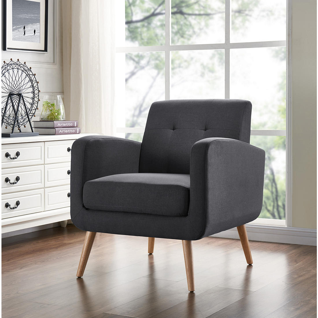 Incredible Handy Living Mid Century Modern Armchair Charcoal Linen Ocoug Best Dining Table And Chair Ideas Images Ocougorg