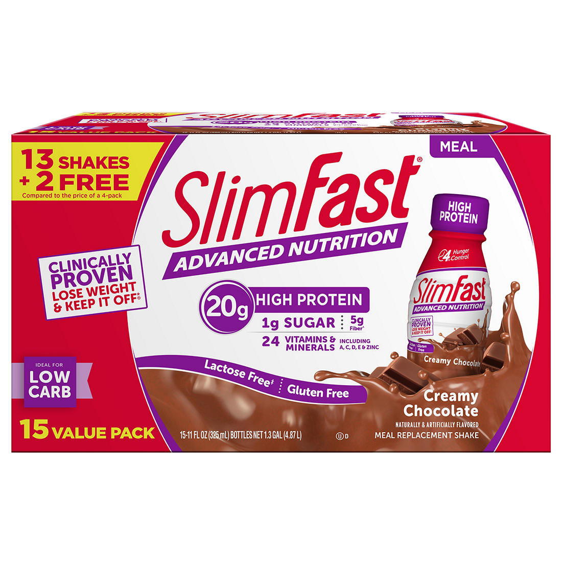 SlimFast Advanced Nutrition Creamy Chocolate Shake, 15 pk /11 fl  oz
