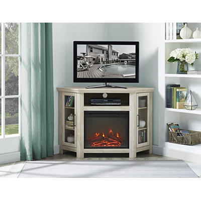 "W. Trends 48"" Wood Corner Fireplace TV Stand Console - White Oak"