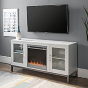 """W. Trends 52"""" Modern Glass Door TV Fireplace Stand for Most TV's up to 58"""" - White"""