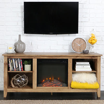 "W. Trends Anna 58"" Fireplace TV Stand for TVs Up to 65"" - Barnwood"